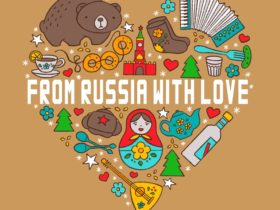 From Russia with Love Logo- Russian items in a heart shape including bear, Russian doll, piano accor
