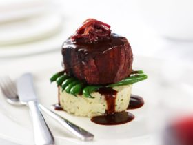 Eye fillet served with beans, mash and red wine jus at The Siesta Resort's Bullring Restaurant