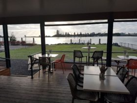 View from inside the Deck Cafe