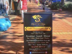 Street Sign outside Restaurant