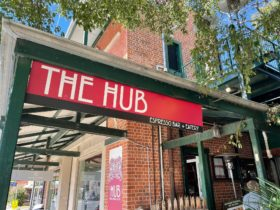 Hub signage at the entrance to the cafe