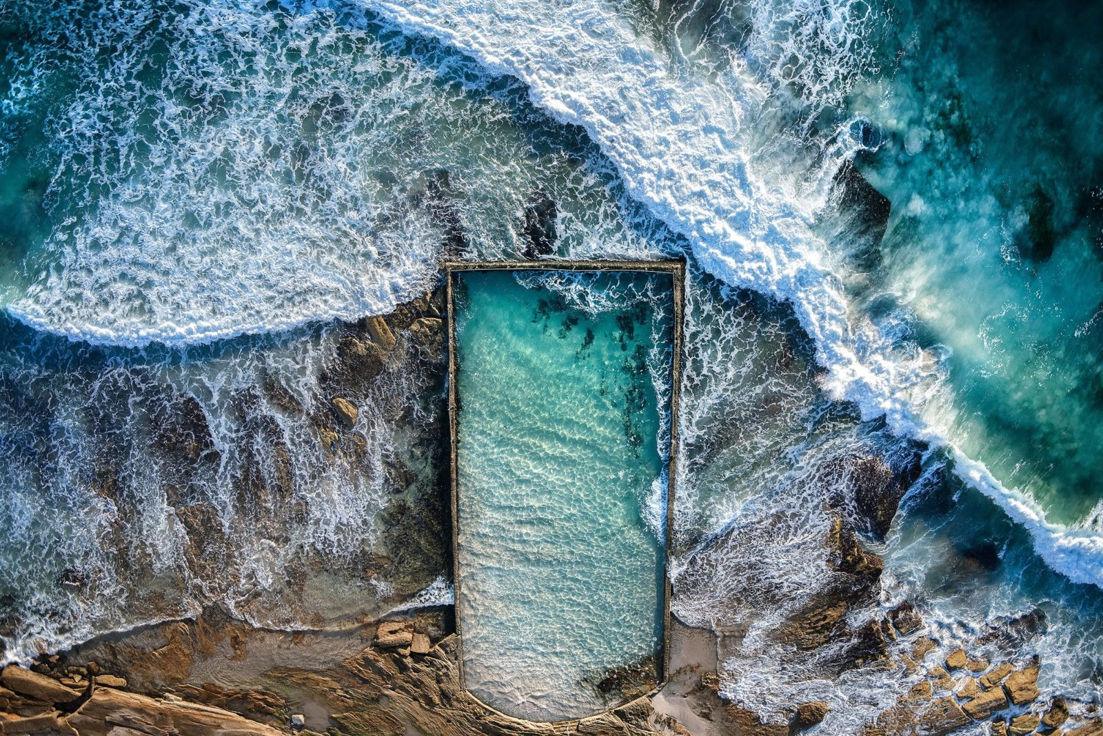 Aerial photograph of Cronulla ocean pool shot from a helicopter.