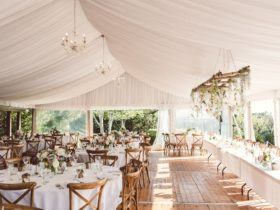 Pavilion hire with hoecker flooring, chandeliers with round table, linen and cross back chairs.