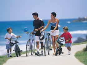 Family riding bikes along the coastline
