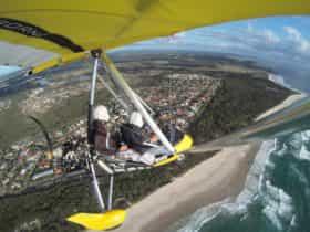 Flying over the coastline