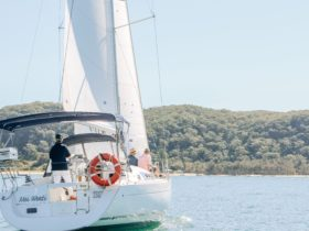 Yacht sailing on Pittwater