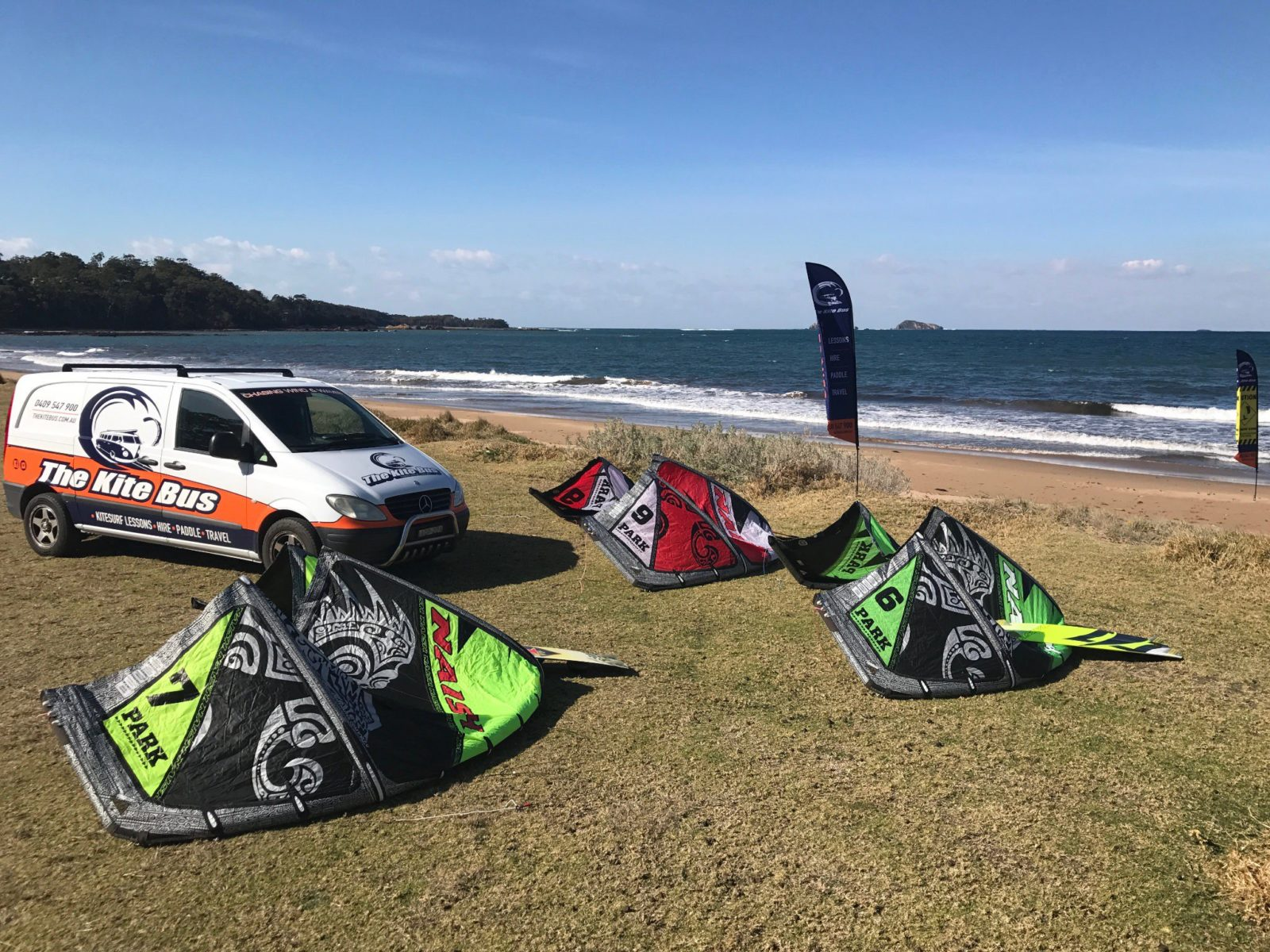 The Kite Bus, kitesurfing lessons, hire and tours Batemans Bay NSW.