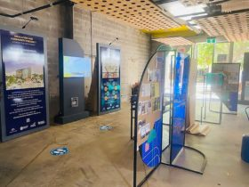 Display panels inside exhibition space
