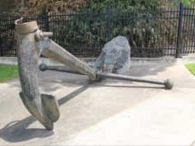 This 19th Century one-arm admiralty inter-tidal anchor is opposite Goyder's Park.
