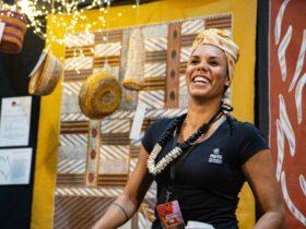 Mimi Arts booth at 2019 Darwin Aboriginal Art Fair.