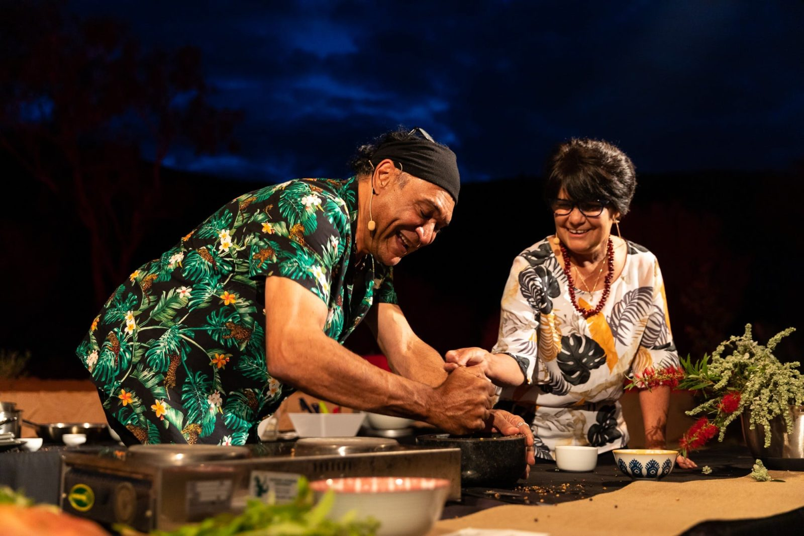 Mark Olive and Rayleen Brown cook up a storm at Parrtjima 2020