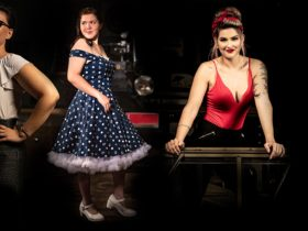 Retro Rockabilly dress up three girls