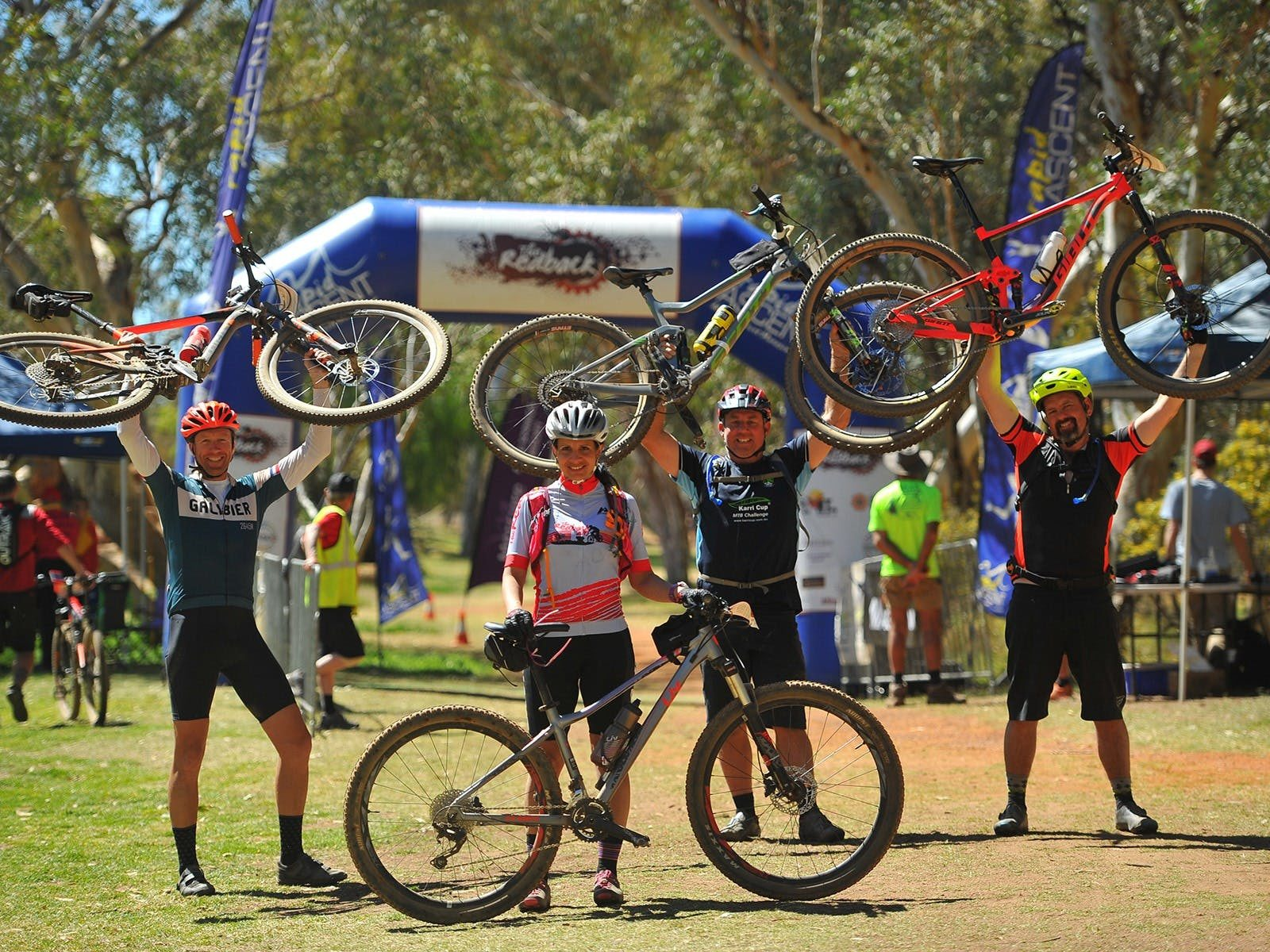 Riders at the finish line