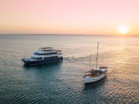 Charles Darwin & Tumlaren on the harbour at sunset