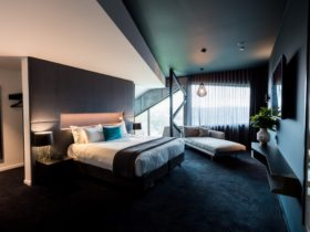 One of the bedrooms in the two storey, two bedroom Penthouse