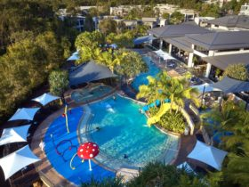 Birdseye view of pool and resort