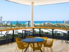 Sweeping views from Coolangatta to Surfers Paradise can be enjoyed at The Salty Fox bar