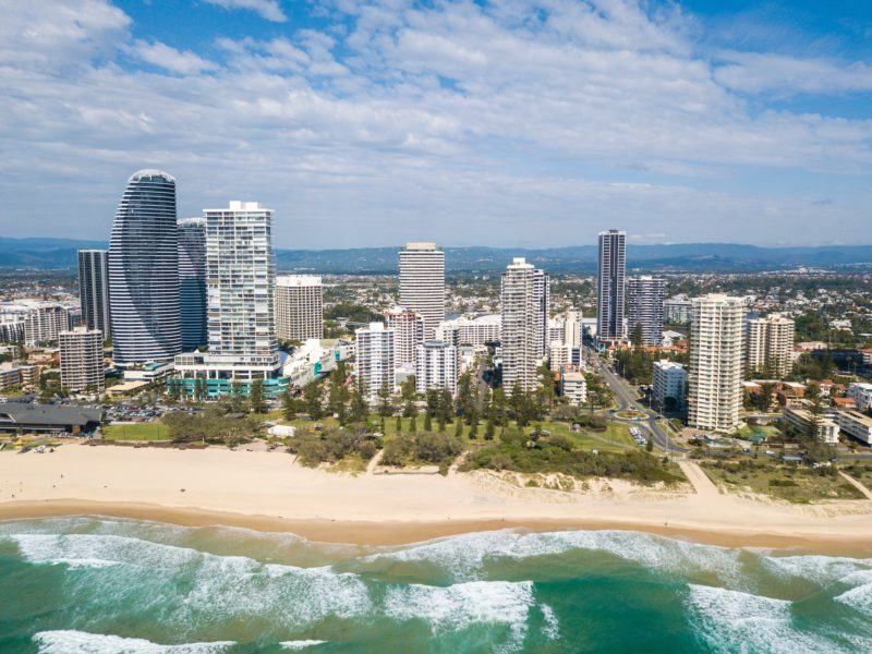 Aerial view of Sandpiper Apartments location and Broadbeach