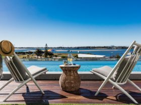 Rooftop Infinity Pool overlooking the Broadwater at Sky Broadwater
