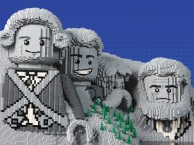 Mount Rushmore made out of LEGO