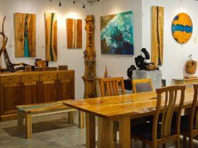 Australian designer handcrafted timber furniture and art Timbercraftsman showroom gallery in Eumundi