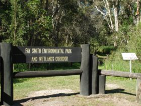 photo of the sign for Fay Smith Wetlands at the main entry point