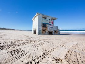 Part of Fort Bribie surrounded by 4WD tracks in the sand