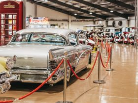 Cars on display inside the Gold Coast Motor Museum