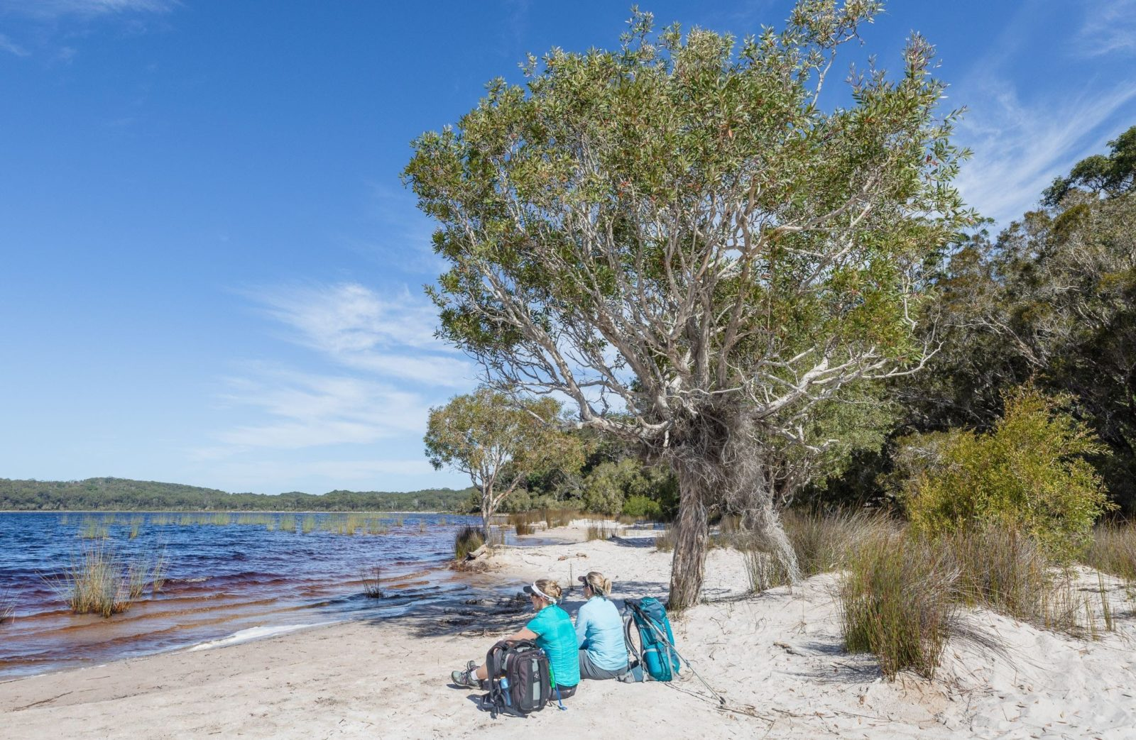 photo showing two hikers sitting on a sandy beach at Lake Birrabeen