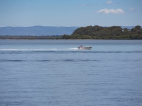 Tinny gliding gliding over the water in Pumicestone Passage
