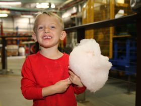 Young visitor enjoying fairy floss