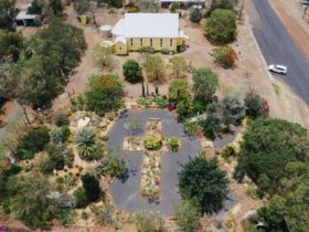 Aerial view of Church and garden