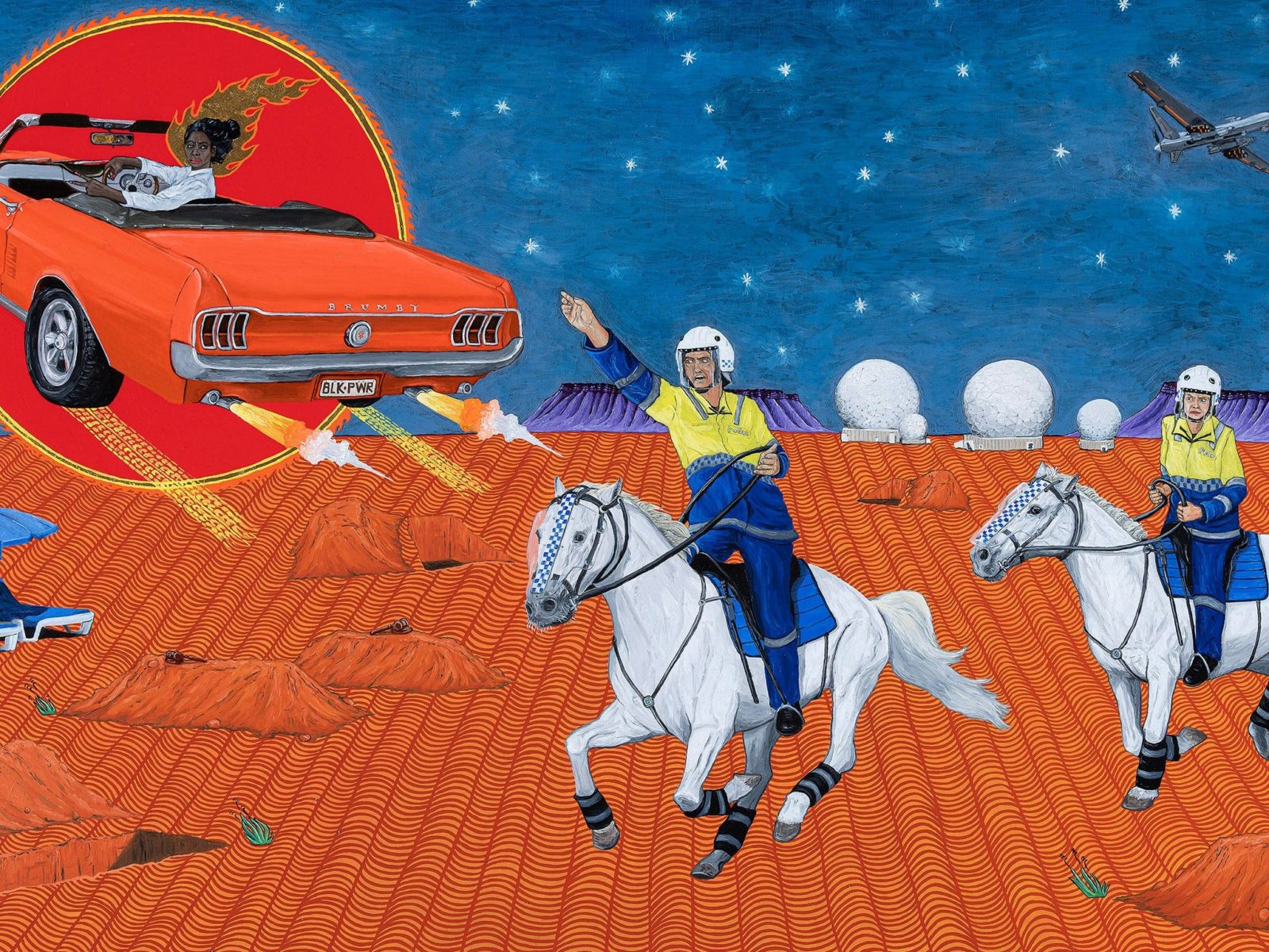 Painting of desert with police on horses and flying orange car.