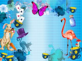 Alice in wonderland inspired image with mad hatters tea party and images of the cancer council tea
