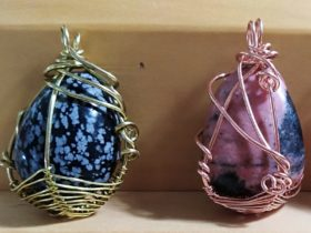 Learn basic methods to wire wrap uneven shapes to make a pendant for yourself.