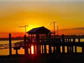 Image credit: Bribie Island jetty at sunset, August 2012, Don McEwen.