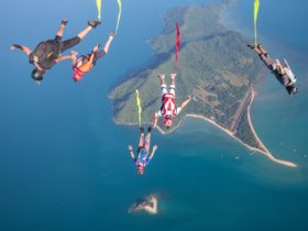 Skydivers over dunk Island