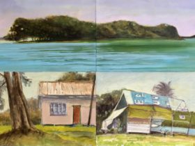 top half of painting is an island surround by water and the bottom half is a painting of houses