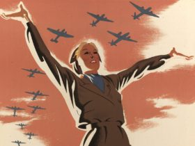 Illustration of 1940s woman in khaki jacket & skirt, arms outstretched as planes fly overhead