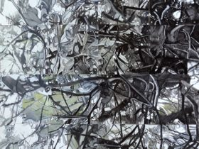 abstract painting of mangroves with black, white and green