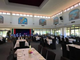 Inside the spacious main bistro at the Italian Club. Stage, Sound System & plenty of seating