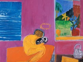 Colourful painting of woman holding a dog, in a room