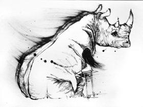 Black and white Artwork of child hugging a Rhino