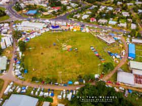 Aerial photograph of Malanda Showgrounds.