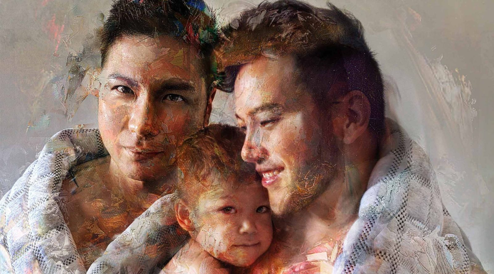 Tim Wang's 2019 Melt Portrait Prize People's Choice: 'Becalmed' - male gay couple with their baby