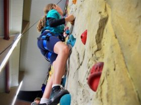 Young girl climbing the Rock Face at the Gold Coast