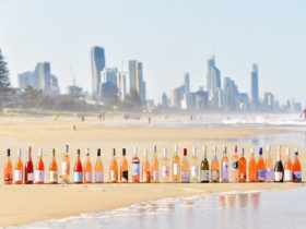 Bottles of Rosé lined up on the beach
