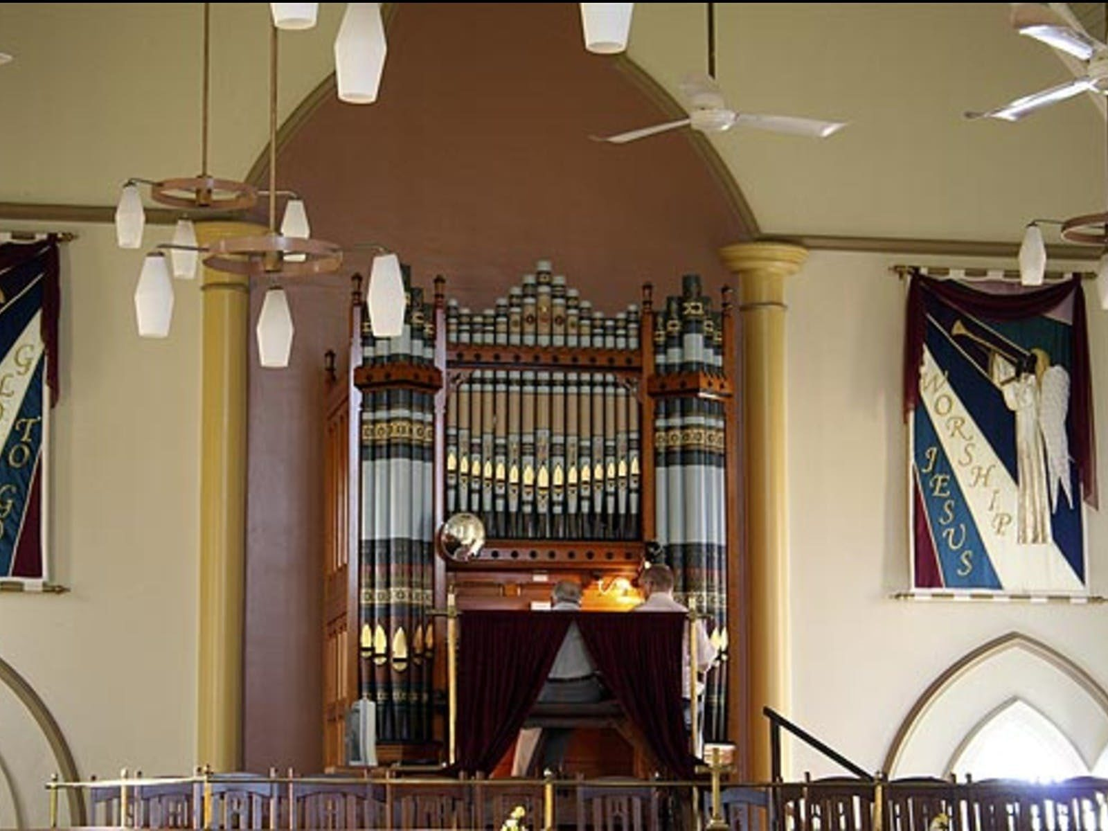 Photo of the pipe organs in a church in Gympie