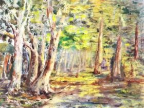 Mary Kirkby, Capalaba pathway at Wattle time (detail) 2020, oil on canvas. Courtesy of the artist.