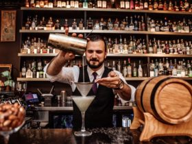 Bartender pouring a cocktail from a Boston Shaker Tin